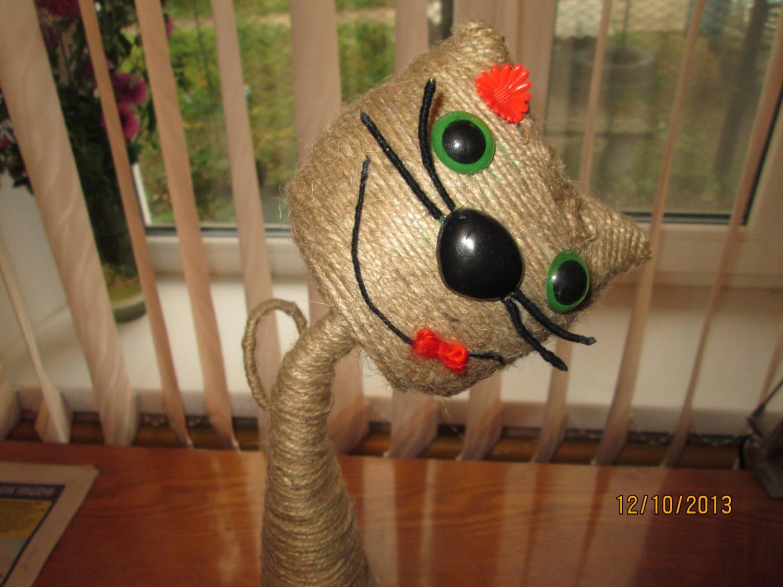 Поделки из шпагатом кот