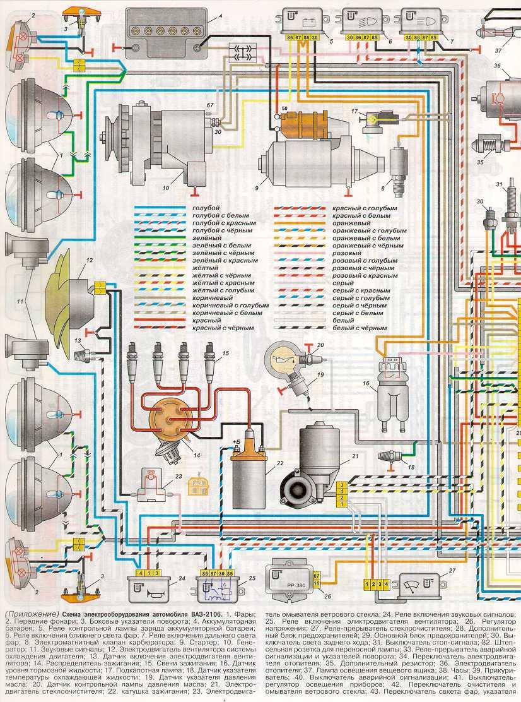 Электрическая схема для автомобиля ваз2106.